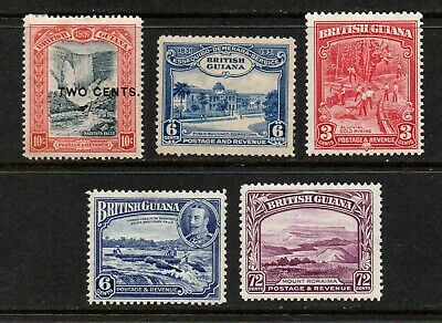British Guiana QV & G5 selection of 5 stamps u/m/m & m/m.