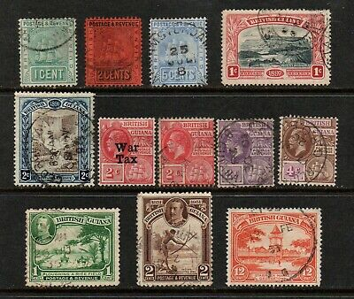British Guiana QV to G5 selection of 12 stamps (Incl WAR TAX) m/m & used.