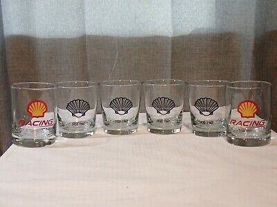 Vintage Lot of 6 Shell Oil Drinking Glasses Tumblers