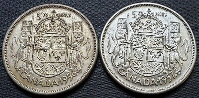 1956 & 1957 Canada Silver 50 Cent Half Dollars - Great Condition Coins