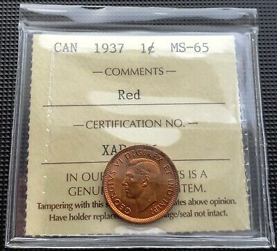 1937 Canada Small Cent Penny Coin ***ICCS Graded MS-65, Red***