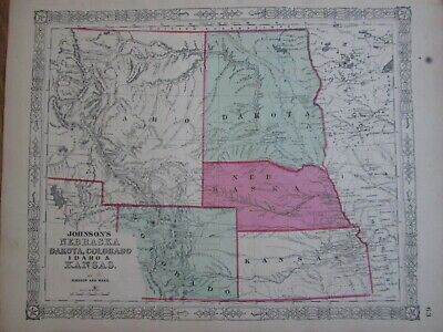1864 Johnson map of Nebraska Colorado Kansas Dakota * Original Antique! A66