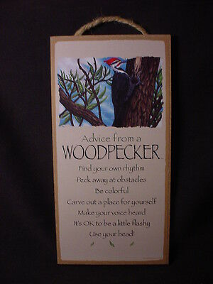 ADVICE FROM A WOODPECKER Wisdom Love 10 X 5 WOOD SIGN wall HANGING PLAQUE Bird