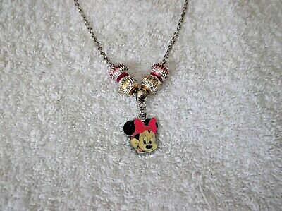 MINNIE MOUSE Inspired Enamel Charm NECKLACE With Aluminium BEADS Pink B