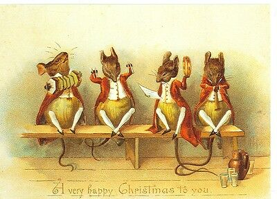 Christmas Dressed Mice Playing Musical Instruments Reproduction (X-249*)
