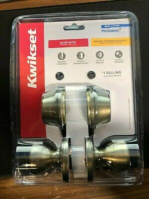 Kwikset Tylo Antique Brass Double-Cylinder Deadbolt Keyed Entry Door Knob Combo