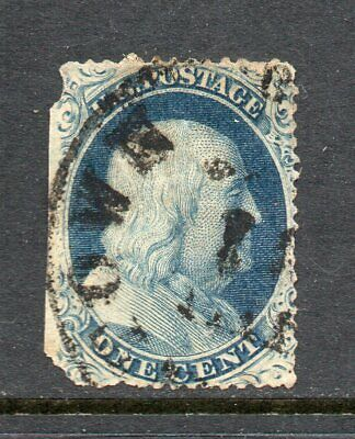Scott 22 Used   1c Franklin, Type III,  Rare Issue  w/Faults