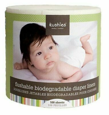 NEW Kushies Flushable & Fully Biodegradable Diaper Liners - 100 Sheets - 1 Roll