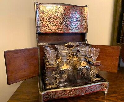 Antique French Boulle Tantalus Box Liquor Cabinet Decanter Napoleon III