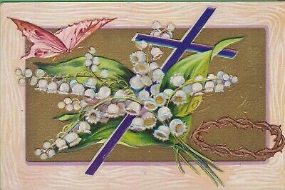 Vintage Antique Easter Joys Postcard Cross Crown Butterfly Embossed Beautiful !
