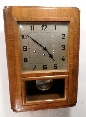 Antique 1910 French Westminister Chiming Regulator Wall Clock With Deco Dial
