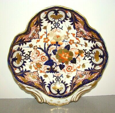 Antique Royal Crown Derby 1820's Kings Imari Shell Bowl