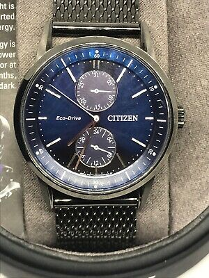 Citizen Eco Drive Mens Watch Blue Face Silver Hands Pre Owned With Box