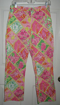 Lilly Pulitzer pants 6 womens Multi Worth Patch pink green crop ankle