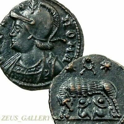 SHE WOLF suckling Twins AU WREATH Constantine the Great Ancient Roman Coin 333AD