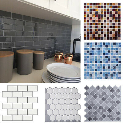 30cm x 30cm Tiles Stick On Kitchen Wall Sticker Self Adhesive Bathroom 3D Mosaic