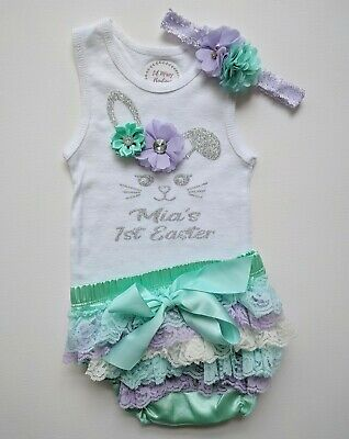 Baby 1st First Easter Outfit Set Bloomers Headband Singlet Personalised Custom