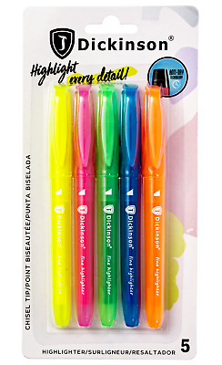 Highlighters Pen Bible Safe Assorted 5-Count J. Dickinson