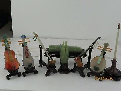 Vintage carved stones Jade Agate Miniature Chinese Musical Instruments SET OF 8