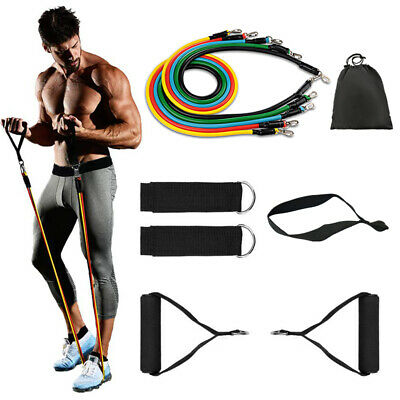 New 11 Piece Exercise Yoga Set Resistance Bands Workout Crossfit Fitness Tubes