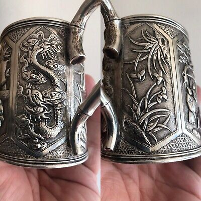 Magnificent Rare 19thC Chinese Export Solid Silver Milk Jug By Sun Shing Canton