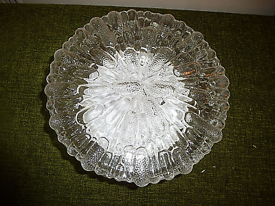 A  ROUND VINTAGE FRENCH MID CENTURY  ICE GLASS CEILING LIGHT FOR REPAIR no4