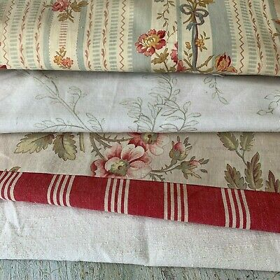 Antique Vintage French fabrics materials  reworking Project Bundle burgundy reds