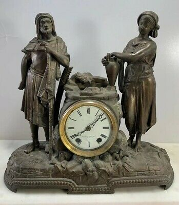 Antique Victorian Mitchell Vance Rebecca At The Well Mantle Clock Seth Thomas