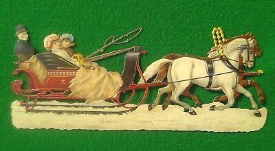 "Large Victorian die-cut scrap – horse drawn sleigh 90 x 215 mm [approx. 3 ½"" x 8"