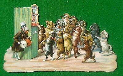 Large Victorian die-cut scrap, dogs entertained by Punch & Judy Show 100 x 170 m
