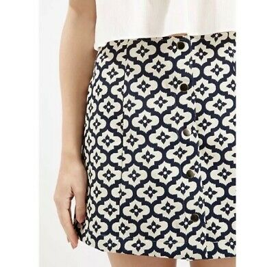Topshop Navy Blue And Off White Cream Button Down Mini Skirt Size 6