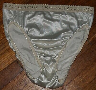 Vtg Victorias Secret Satin Second Skin Hi Cut Brief Signature Band Panties S F35