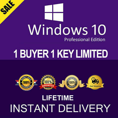 Genuine Microsoft Windows 10 Pro 32/64-bit Operating System 1 Buyer Max 1 Order
