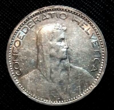 1923 Switzerland 5 Francs - Km # 37 - High Grade - Beauty Xf+ Silver Crown