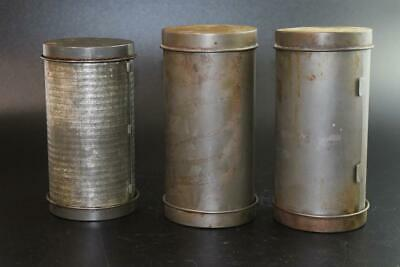 3X Vintage KANDE & WILLOW Australia NUT LOAF TINS Round Date/Walnut 1 is Ribbed