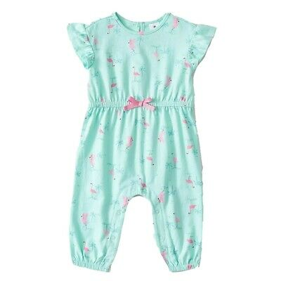 Girls size 1 Light Green Pink FLAMINGO playsuit  jumpsuit jump play suit  NEW