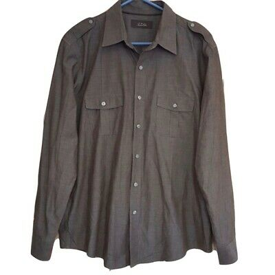 Tasso Elba Mens Button Front Shirt Size L 100% Cotton Brown Casual Long Sleeve
