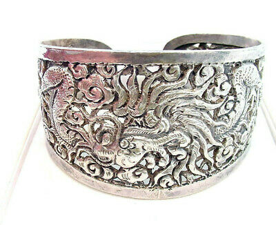 Huge Wide  Antique Chinese Dragon Sterling Silver Cuff Bracelet Estate Find