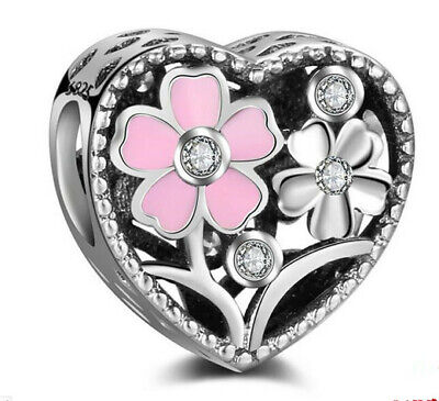 DIY Heart European CZ Crystal Charm Silver Spacer Beads Fit Necklace Bracelet  ^