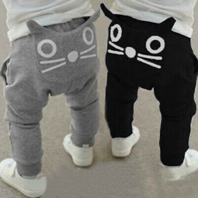 Toddler Baby Unisex Boy Girls Pants Sweatpants Elastic Waist Cat Pocket Trousers