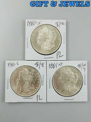 1880-S 1981-S 1885-O US MORGAN 90% SILVER DOLLAR COIN PROOF LIKE LOT OF 3 #bf768