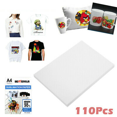 110 Sheets A4 Dye Sublimation Paper Iron On Heat Transfer for Inkjet T-Shirt Mug