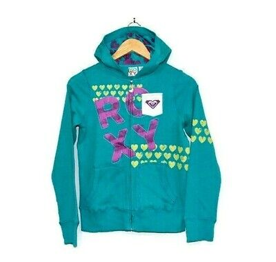 ROXY Girls Teal Green / Blue Fleece Hoody Jumper Pull Over SZ L / Age 10-12yrs