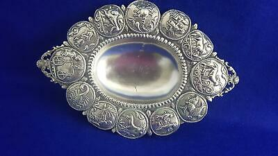 Fabulous Antique Asia Minor Sterling Silver Dish w Signs of the Zodiac 134g
