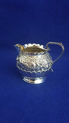 Lovely Victorian H/M Sterling Silver Creamer w Repoussé Roses B'ham 1888 57g