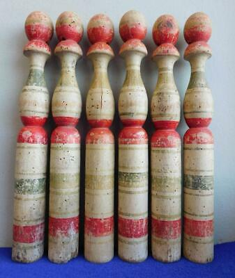 Wonderful Set of 6 Large Antique Tole Painted Wood Skittles 1800s Circus