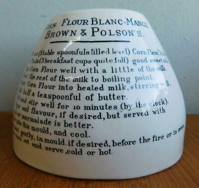 c1900s Printed Pottery Brown & Polsons Blanc-Mange Jelly Mould with Recipe