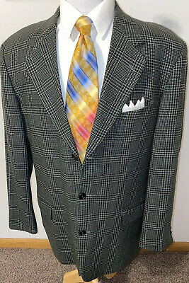Zeidler & Zeidler Green Glen Plaid Wool 3 Button Blazer Sport Coat Jacket Sz 44R