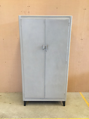 Grey Shabby Chic Lebus Wardrobe With Shelves And Hanging Rail