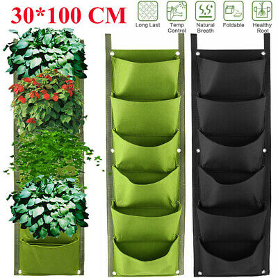 1-10 PCs 7 Pockets Planting Bag Vertical Garden Planter Wall Hanging Bags Garden